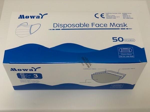 50 Stück Mundschutzmasken Moway Typ II / EN14683:2005