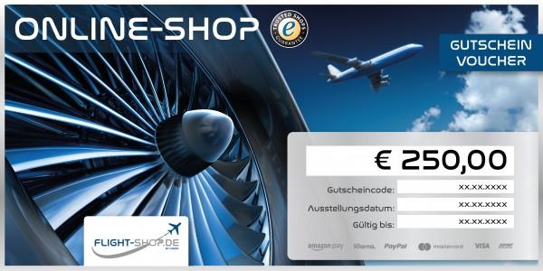 Geschenkgutschein 250 EURO - Flight-Shop