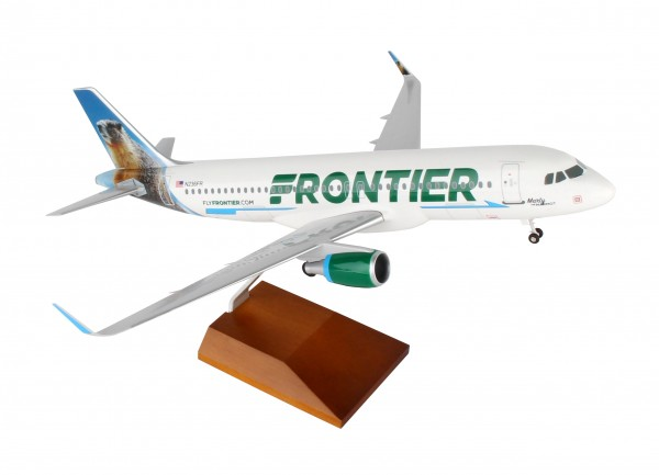 """Airbus A320 Frontier Airlines """"Marty the Marmot"""" Scale 1/100 w/Gear"""