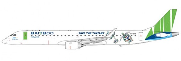 """Embraer 190-200LR Bamboo Airways """"Save the turtles Livery"""" OY-GDB Scale 1/400"""