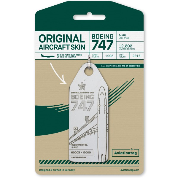 Aviationtag Boeing B747 - white (Cathay Pacific)