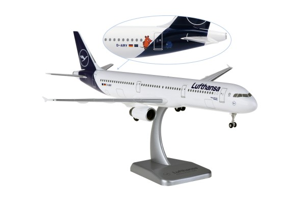 """Airbus A321-100 Lufthansa New Livery """"Mouse & Elephant"""" D-AIRY Flensburg Scale 1:200 w/G"""