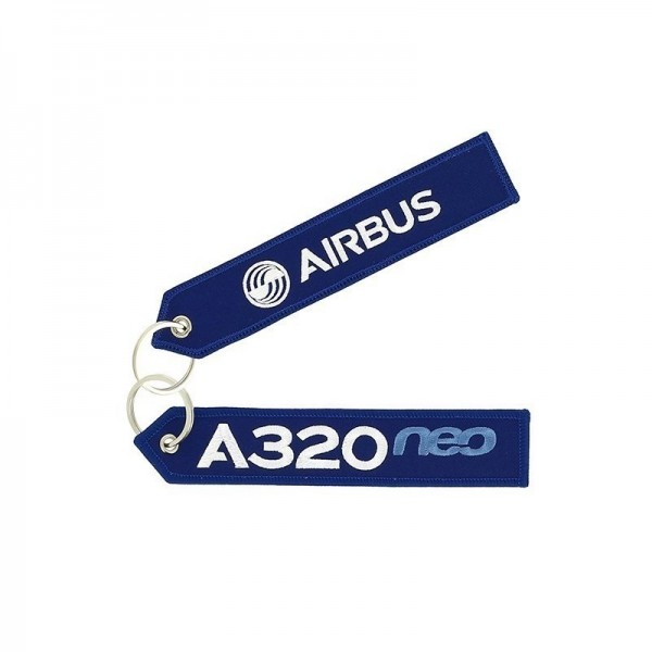 Key ring - A320neo blue Large size: 160 x 30 mm