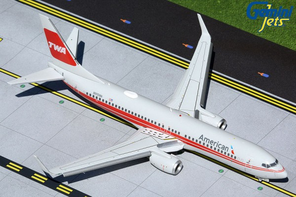"""Boeing 737-800W American Airlines """"TWA Heritage Livery"""" Flaps Down Version N915NN Scale 1/200"""