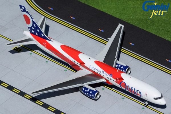"""Boeing 757-200 America West Airlines """"City of Columbus"""" (Ohio State Flag) N905AW Scale 1/200"""