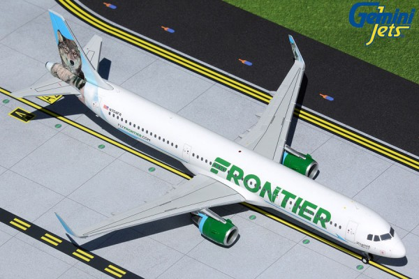 """Airbus A321 Frontier Airlines """"Virginia the Wolf"""" N704FR Scale 1/200"""