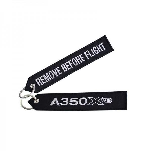 Key ring - A350XWB black Large size: 160 x 30 mm