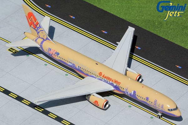 """Boeing 757-200 America West Airlines """"Teamwork Coast to Coast"""" N902AW Scale 1/200"""