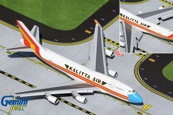 """Boeing 747-400BCF Kalitta Air """"mask livery"""" Flaps Down Version N744CK Scale 1/400"""