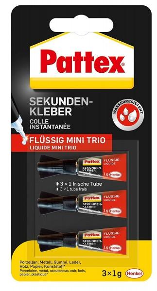Pattex Sekundenkleber Flüssig Mini Trio