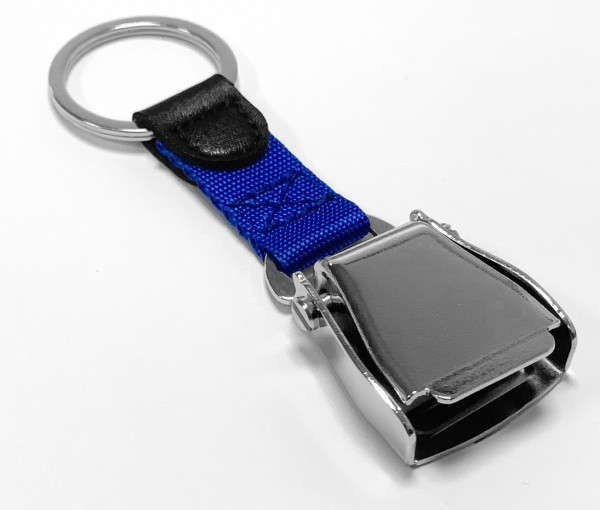 Airline Seatbelt key chain - blue