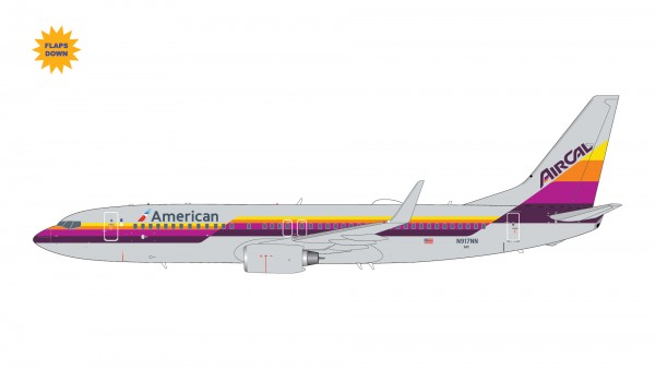 """Boeing 737-800 American Airlines """"AirCal Heritage Livery"""" Flaps Down Version N917NN Scale 1/200"""