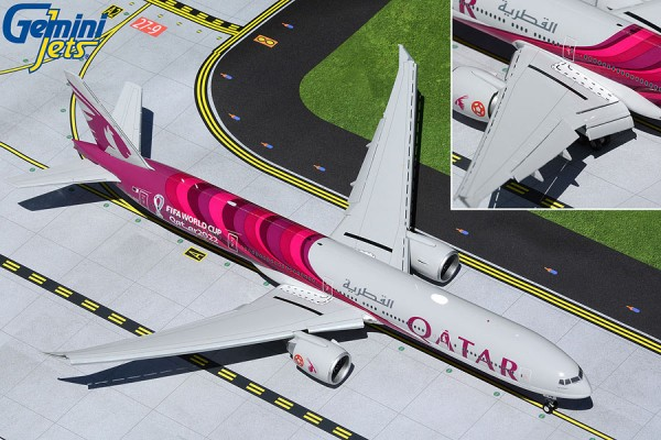 "Boeing 777-300ER Qatar Airways ""FIFA World Cup 2022"" Flaps Down Version A7-BEB Scale 1/200"