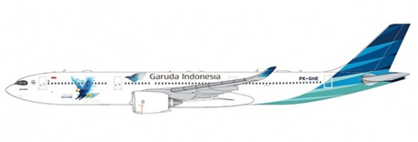 """Airbus A330-900neo Garuda Indonesia """"Great Experience with A330-900NEO"""" PK-GHE Scale 1/400"""