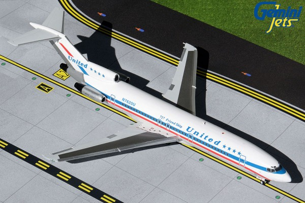 "Boeing 727-200 United Airlines ""stars & bars, blue titles"" Scale 1/200"