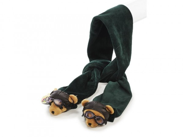 Pilotbär Schal aus Plüsch 140cm / Plush scarf Pilot Bear 140cm