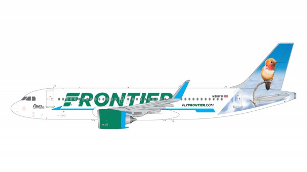 """Airbus A320neo Frontier Airlines """"Flower the Hummingbird"""" Scale 1/200"""