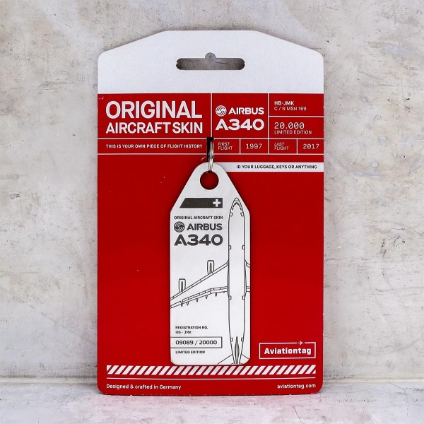 Aviationtag Airbus A340 - White (Swiss)