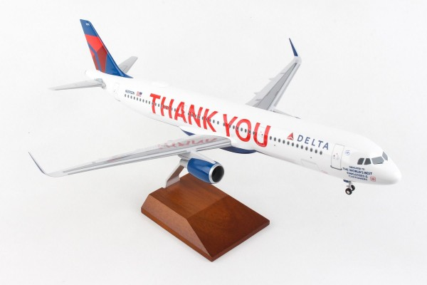 "Airbus A321 Delta Air Lines ""Thank you"" Scale 1/100 w/Gear"