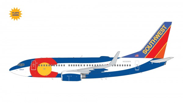 """Boeing 737-700 Southwest Airlines """"Colorado One"""" Flaps Down Version N230WN Scale 1/200"""