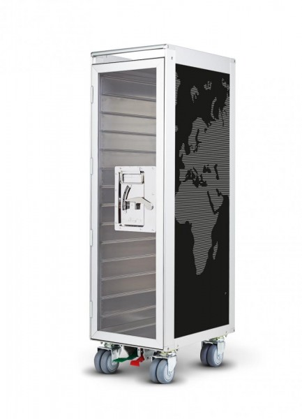 "Flugzeug Trolley ""worldmap"" with black lines Tür/Door transparent"