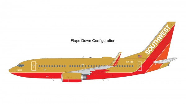"""Boeing 737-700 Southwest Airlines """"Southwest Classic"""" Flaps Down Version N714CB Scale 1/200"""