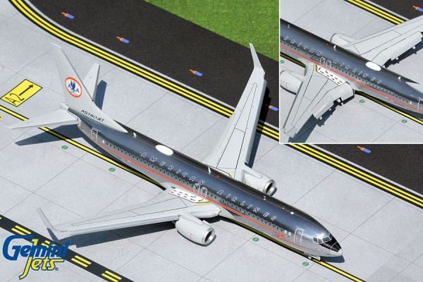 """Boeing 737-800 American Airlines polished """"Astrojet"""" livery Flaps Down Version N905NN Scale 1/200"""