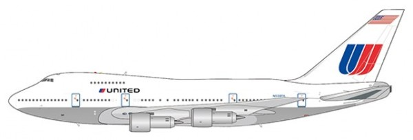 """Boeing 747SP United Airlines """"White Livery"""" N538PA Scale 1/400"""