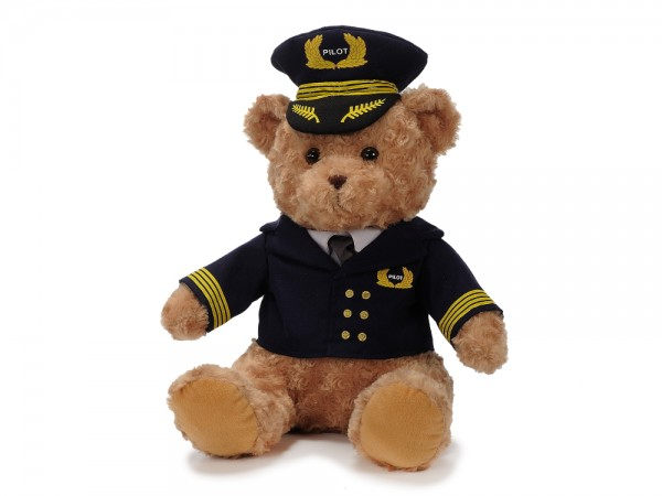 Plüschbär mit Pilotenuniform / Plush Bear with Pilot uniform 40cm