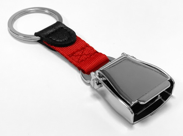 Airline Seatbelt key chain - red