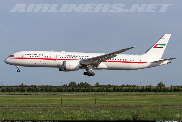 Boeing 787-9 UAE Abu Dhabi Flaps Down Version A6-PFE Scale 1/400