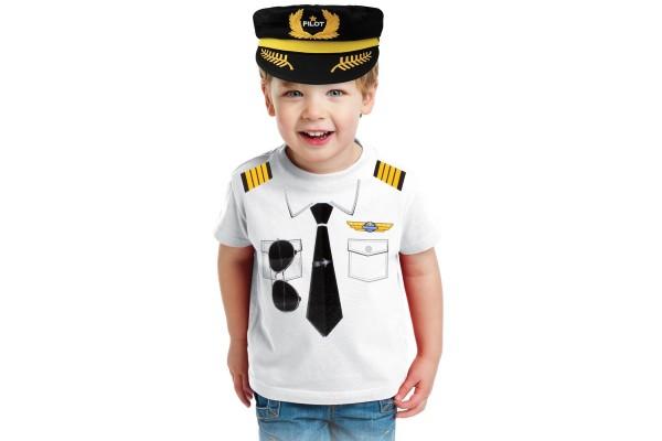T-Shirt im Pilotendesign für Kinder Größe M