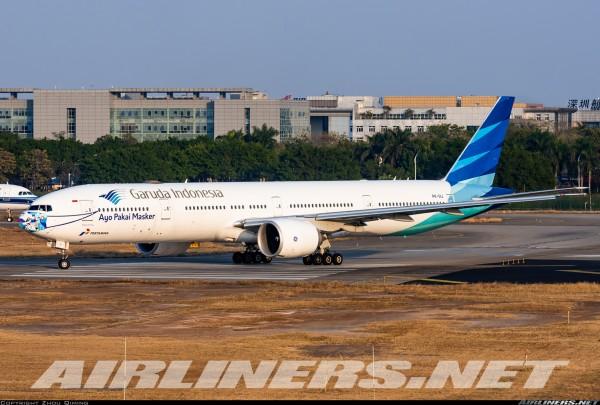 """Boeing 777-300ER Garuda Indonesia """"Ayo Pakai Masker"""" Flaps Down Version PK-GIJ Scale 1/400"""